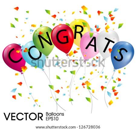 balloons with the word congrats - stock vector