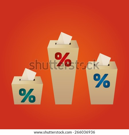 Ballot Boxes for an election. Percent Boxes on the orange background - stock vector