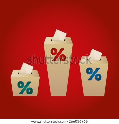 Ballot Boxes for an election. Percent Boxes on the red background - stock vector