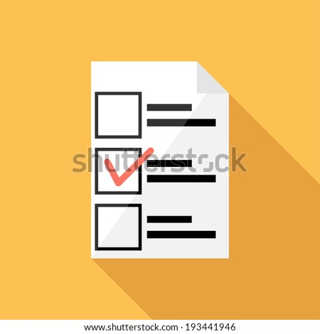 Ballot icon. Flat design style modern vector illustration. Isolated on stylish color background. Flat long shadow icon. Elements in flat design. - stock vector