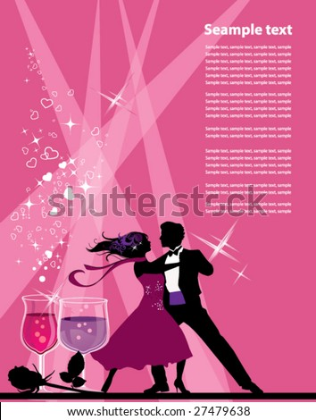 Ballroom dancers. All elements and textures are individual objects. Vector illustration scale to any size. - stock vector