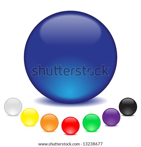 balls in eight colors - stock vector