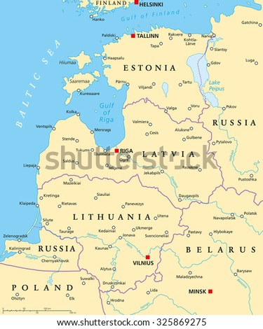 Baltic Countries Political Map Baltic States Stock Vector 325869275