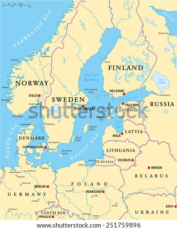 North sea map stock images royalty free images vectors baltic sea area political map with capitals national borders important cities rivers and sciox Images
