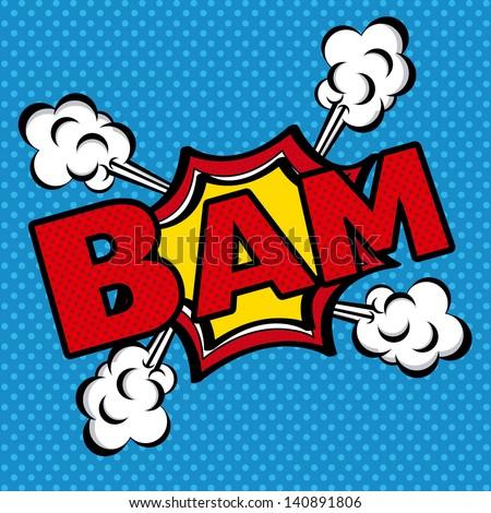 bam comics icon over blue background vector illustration - stock vector