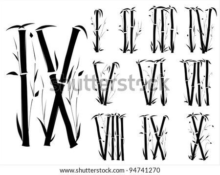 Bamboo alphabet(Roman numerals) font in asian style(Part 3).
