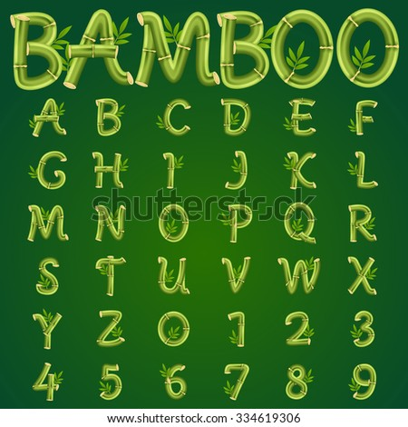 Bamboo alphabet, vector art and illustration.