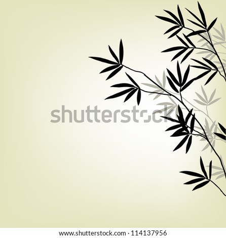 bamboo background, black and white branches, vector