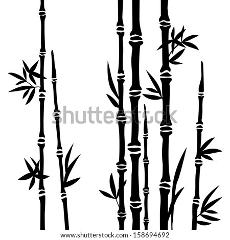 Bamboo branches isolated on the white background. Vector