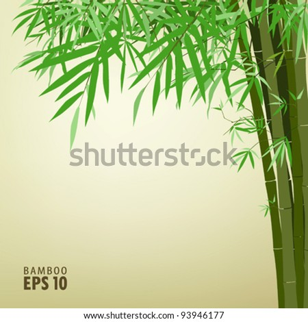 Bamboo chinese drawing printing, vector illustration - stock vector