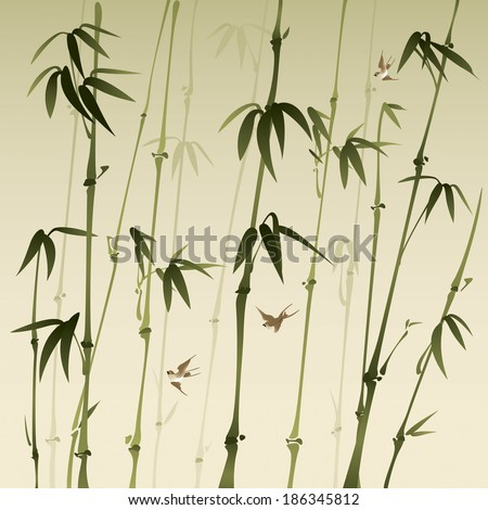 bamboo forest, vectorized oriental style brush painting - stock vector