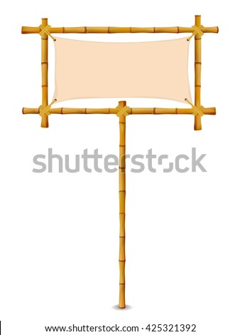 Bamboo Frame with Cloth Sign. Isolated on white. Vector illustration banner - stock vector