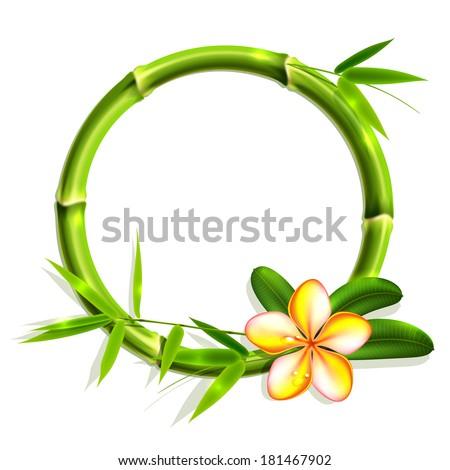 Bamboo frame with flower. Vector illustration, eps10. - stock vector
