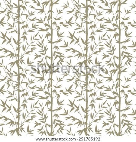 Bamboo gray seamless pattern isolated on white background. Vectro illustration. - stock vector