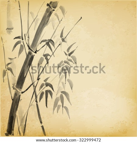 Bamboo in sumi-e style, Traditional Japanese painting, Hand-drawn with ink, Vector illustration.