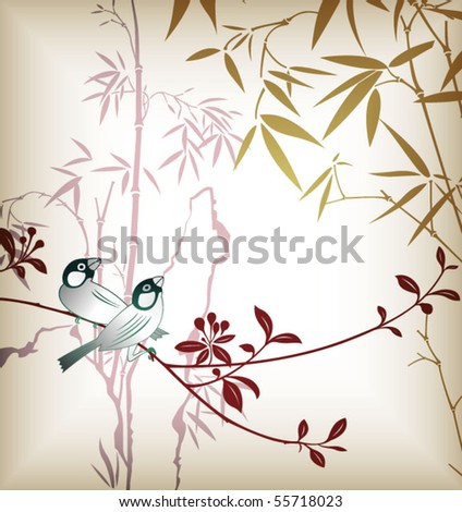 Bamboo Leaf and Bird 1 - stock vector