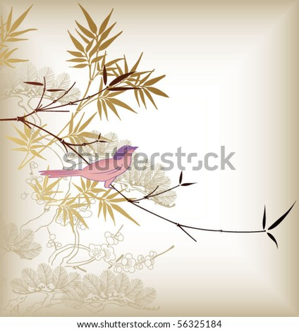 Bamboo Leaf and Birds 2 - stock vector