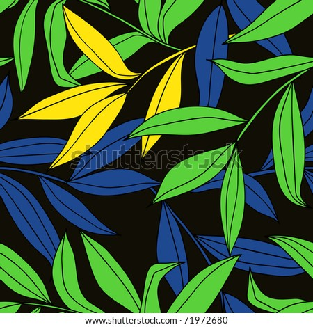 bamboo leaves seamless pattern - stock vector