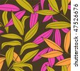 Bamboo leaves seamless pattern in warm color palette vector - stock vector