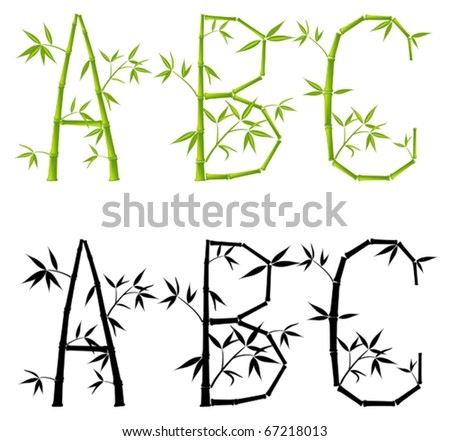 Bamboo letters, set, vector illustration (mesh)