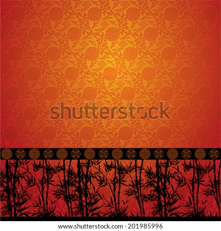 Bamboo pattern on traditional Chinese pattern wallpaper - stock vector