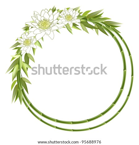 Bamboo round frame with lilly flowers. Vector background - stock vector