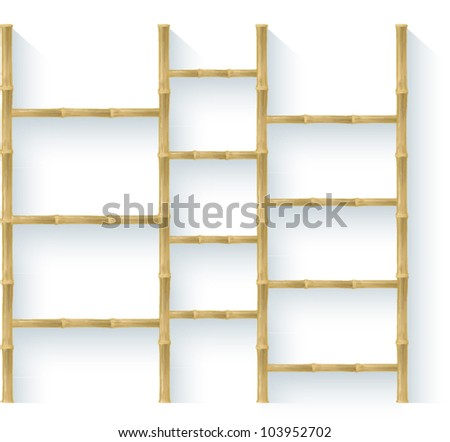 bamboo shelves - stock vector