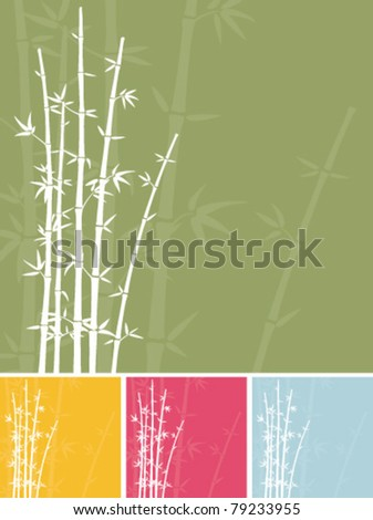 Bamboo silhouette illustration in four different colour variations. - stock vector