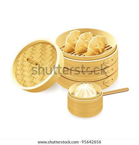 Bamboo steamers with gyoza and baozi dumplings - stock vector