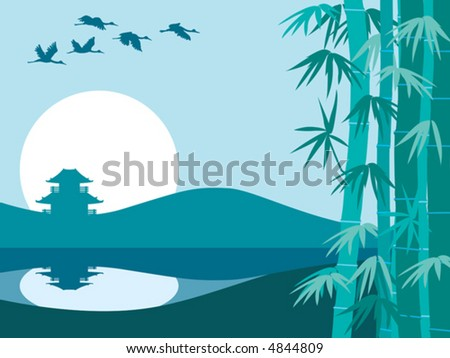 Bamboo trees, temple and sunrise, vector - stock vector