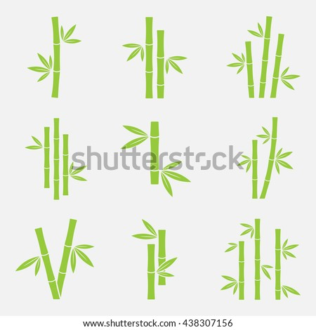 Bamboo vector icon set isolated on a white background. Silhouettes of bamboo trunks, stems, or trees with leaves. Green logo tropical bamboo.