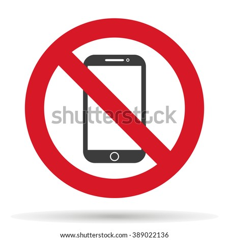 ban phone, no mobile cell phone, warning sign ban phone, icon ban mobile phone  EPS10,  vector illustration - stock vector