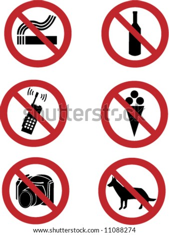 Ban signs on dog, smoking, ice-cream, drink, mobile, photo