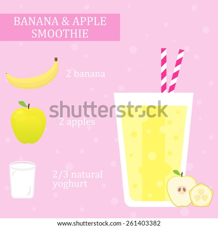 Banana and apple milkshake recipe. Menu element for cafe or restaurant with energetic fresh drink made in flat style. Fresh juice for healthy life. Organic raw shake. Vector illustration. - stock vector