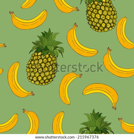 Banana and pineapple pattern - stock vector