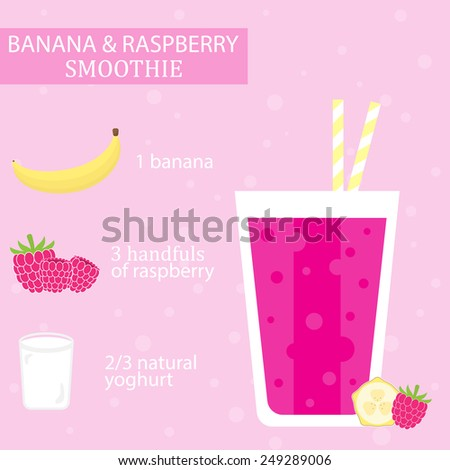 Banana and raspberry milkshake recipe. Menu element for cafe or restaurant with energetic fresh drink made in flat style. Fresh juice for healthy life. Organic raw shake. Vector illustration. - stock vector