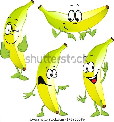 banana cartoon - stock vector