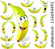 banana cartoon with many expressions isolated on white background - stock vector