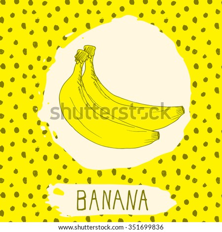 Banana hand drawn sketched fruit with leaf on background with dots pattern. Doodle vector banana for logo, label, brand identity. - stock vector