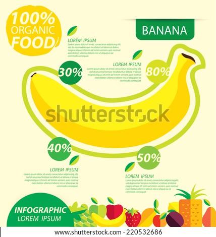 banana, infographics. fruits vector illustration. - stock vector
