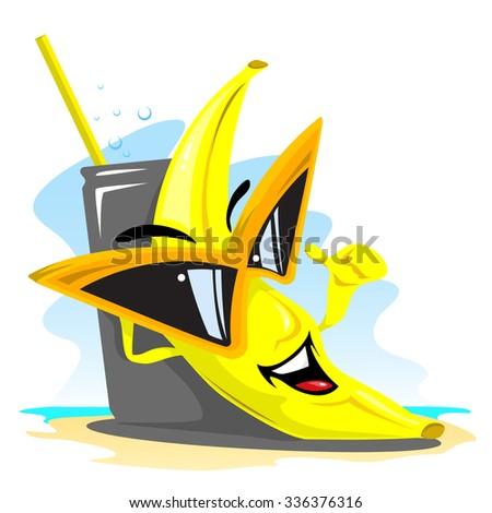 Banana on rest - stock vector