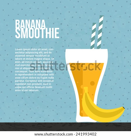 Banana smoothie vector concept. Menu element for cafe or restaurant with energetic fresh drink made in flat style. Fresh juice for healthy life. Organic raw shake.  - stock vector