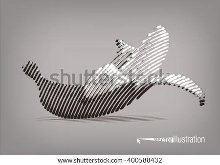 Banana. Vector artwork in the style of ink drawing - stock vector