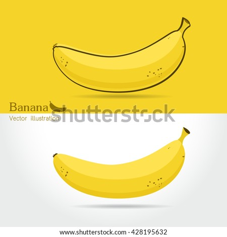 Banana vector icon cartoon style isolated on white background. Banana isolated black and color icons vector silhouette. fruit, food, vector flat style  - stock vector