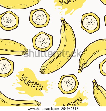 Banana with slices seamless pattern with juice drop and yummy inscription in vector - stock vector