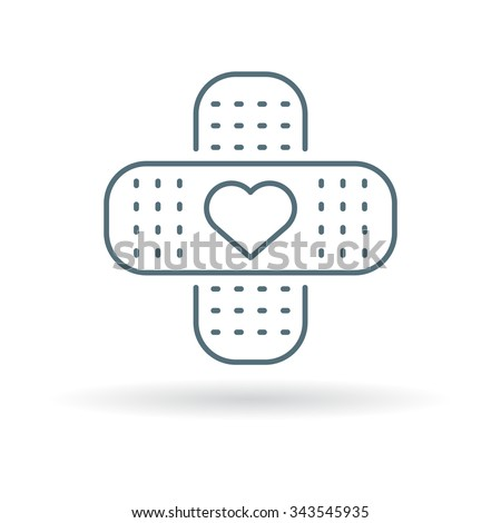 Band Aid Icon Plaster Heart Sign Stock Vector 343545935 Shutterstock