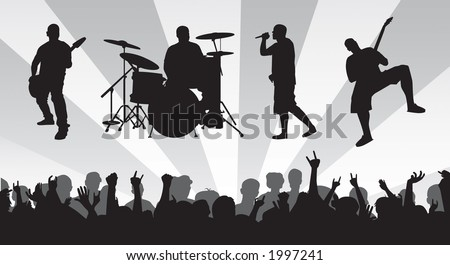 Band and crowd vector.  Band members are isolated as well as the crowd.  Can resize to one's desire. - stock vector
