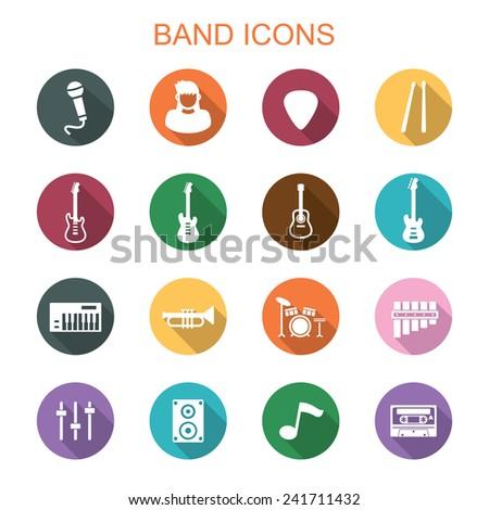 band long shadow icons, flat vector symbols - stock vector