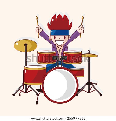 band member drummer theme elements - stock vector