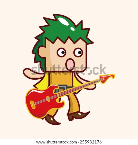 band member guitar player theme elements - stock vector